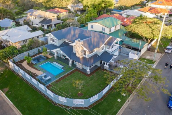 Arial photo of custom home hampton style house by Brisbane builders McCarthy Homes